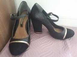 Sapato Preto Cravo e Canela