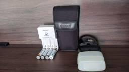 Flash EX 320 Canon com pilhas Sony recarregável