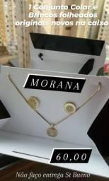 1 Conjunto Colar e Brincos folheados marca MORANA novos na caixa 60,00