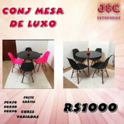 Conjunto mesa de luxo James 4 cadeiras