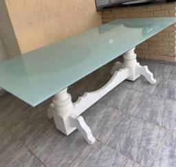 Mesa tampo vidro com 6 cadeiras