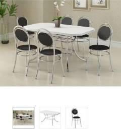 Mesa Branca com 6 cadeiras pretas - Carraro