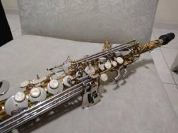 Saxofone Soprano Jahnke Sib Top Dourado Reto - Instrumento Novo