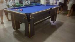Mesa Charme de Sinuca e Jantar Cor Dakar Tecido Azul Mod. QIEA8074