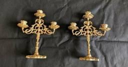 #RELIQUIAS <br>2castisal de 3 velas em perfeito Estado para 3 velas