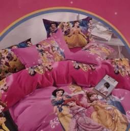 Jogo de cama infantil princesas 6pças edredom cortina lençol fronha forro