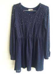 Vestido antix azul com pérolas - tam g
