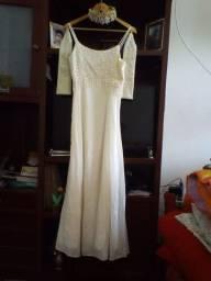 Vestido Noiva Longo 40/42 Branco pérola