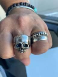 Anel prata caveira skull