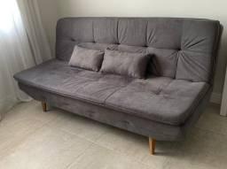 Sofá cama dois lugares (casal) - veludo cinza (pouco uso)