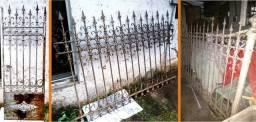 Conjunto grades e portão (antigo)ferro trabalhado c/ pontas 3 peças
