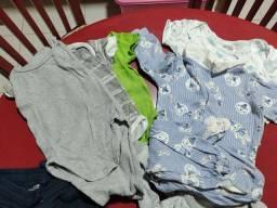 Roupas toucas calças macacão mijao body manga curta longa bebes de zero a seis meses