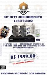 Kit CFTV 4ch com 4 Câmeras blindadas Completo