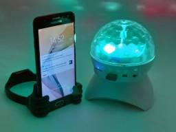 Bola Maluca Caixa Globo de Luz Led Colorido Toca Mp3 Bluetooth