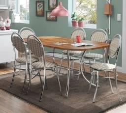 Mesa 1547 Cromada com 6 Cadeiras 190 17Jan - Entrega Rápida