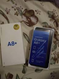 R$ 1.400,00<br>Vendo Samsung Galaxy A8+,  64 GB de memória interna, semi novo.