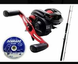 Kit pesca carretilha vara linha