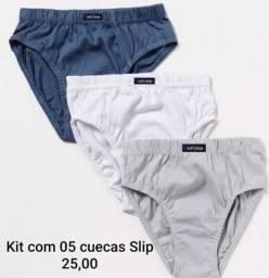 Kit com 05 unidades Cuecas Slip (Tradicional)
