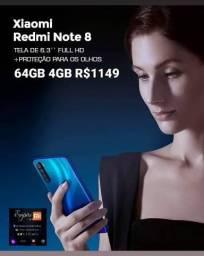 Xiaomi RedMi Note 8 64GB 4GB. Lacrado! Entrega Grátis e Garantia!