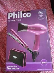 Kit secador e prancha travel shine Philco novo