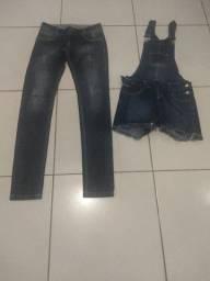 Calça e jardineira jeans
