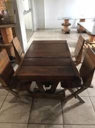 Mesa Madeira Demolição com 4 cadeiras
