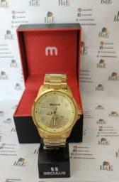 Relógio Seculus Dourado com 2 anos de garantia à prova d'água