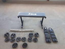 Kit musculação: anilhas, barras, tornozeleiras e banco