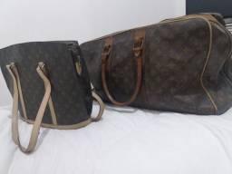 Mala de viagem e bolsa de ombro Louis Vuitton