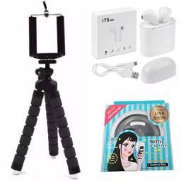 Kit Fone sem Fio + Selfie tripé + Selfie Ring Light