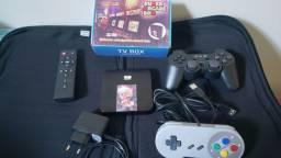 Console game com + 5.000 jogos retro e smart box 4k