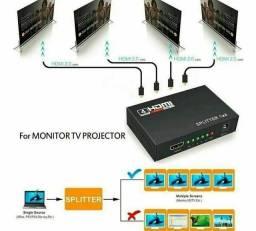 Título do anúncio: Splitter Hdmi 1x4 Divisor Conversor Amplificador Distribuido