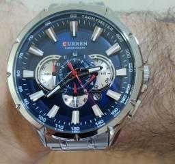 Relógio Curren Original Fundo Azul