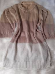 Blusa tricô gliter manga bufante