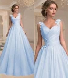Vestido Longo de Festa Azul Plus Size