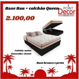 Cama baú + colchão queen