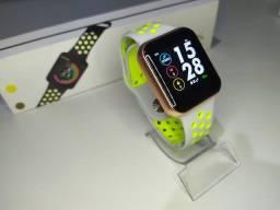 Relógio Smart F8, recebe mensagem, funções esporte, troca pulseira