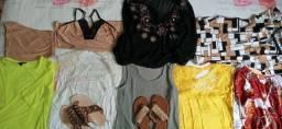 Sete blusas femininas tam M + um short doll tam M usadas
