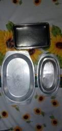 Bandejas/Travessas para Porções/Petiscos/Salgados em Inox e Alumínio