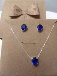Conjunto Pulseira Colar e Brinco Gota Azul Safira Prata 925