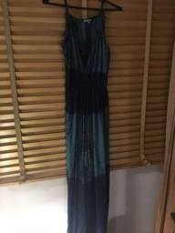Vestido tie dye em crepe azul