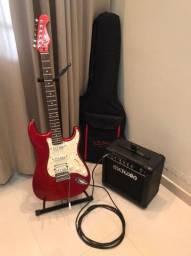 Guitarra Eagle + Amplificador/caixa/cubo Meteoro + Afinador + Capa + Cabo 4,5m + Suporte