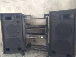 Kit Som Profissional (2 Caixas, 2 Amplificadores, 1 Rack, 1 Tuner ) LEIA