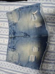 Short Saia Curto Jeans Tamanho 44