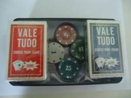 100 Fichas de Poker  Numerada + 2 Baralhos Vale Tudo