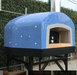 Forno movel pizza lenha gás e piso giratório tipo carrosel