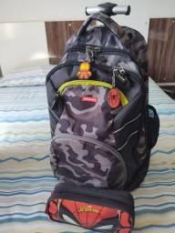 Kit mochila com rodinha+alças sestini original semi nova