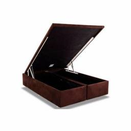 Cama Box Baú Ortobom Rosolare Camurça Marron -Queen Size - 1,58x1,98x0,40