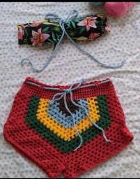 Conjunto misto crochê e tecido P promoção