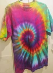 Camisa Tie Dye - Espiral Arco-íris Ice Dye